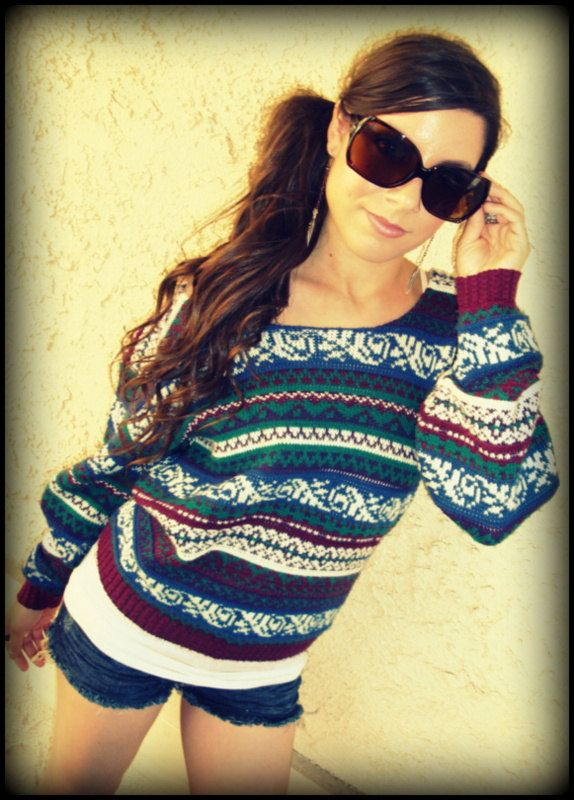 LOVE Off-The-Shoulder Fair Isle Vintage Sweater...I LIVE in mine ...