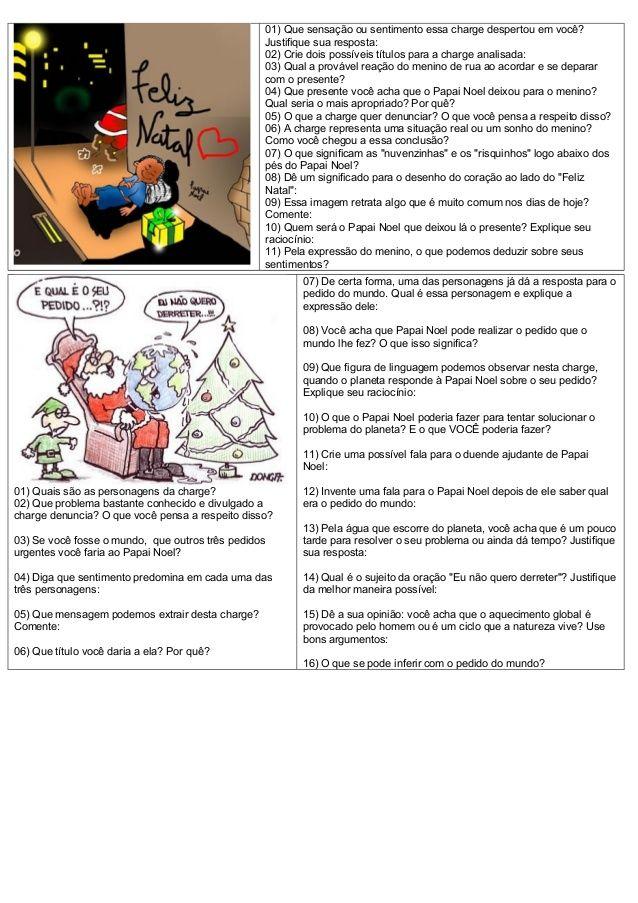 Interpretacao Charges Natal Com Imagens Atividades De Natal