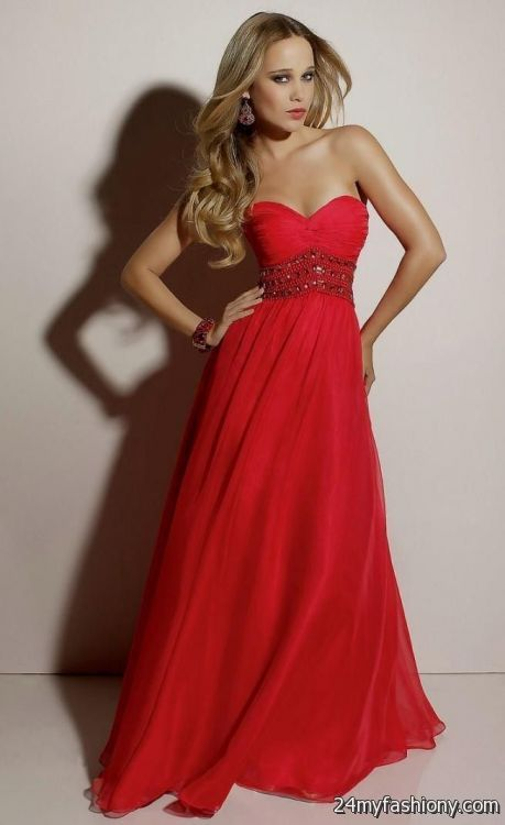 Long Red Strapless Prom Dress
