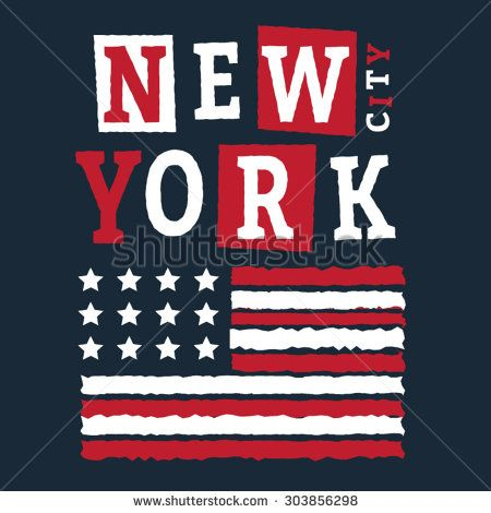 New York city typography, t-shirt graphics, vectors, america flag
