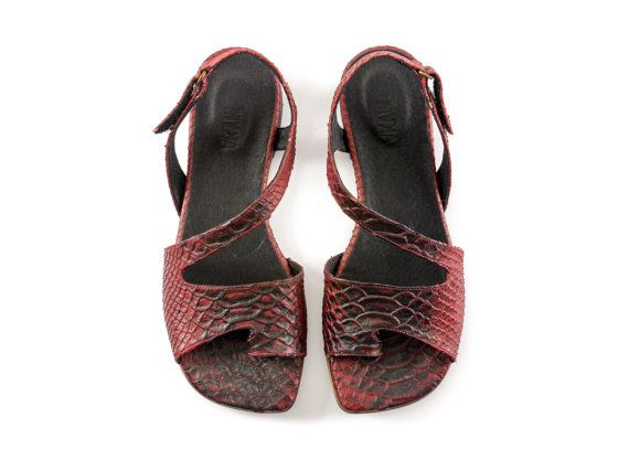 flat sandals women leather sandals red sandals by MYKAshop on Etsy, $119.00