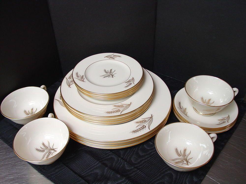 20 pc Lenox Harvest Dinnerware Fine China Service 4 Cream Off-White Gold Wheat & 20 pc Lenox Harvest Dinnerware Fine China Service 4 Cream Off ...