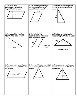 Area Of Triangles And Parallelograms Challenge Triangle