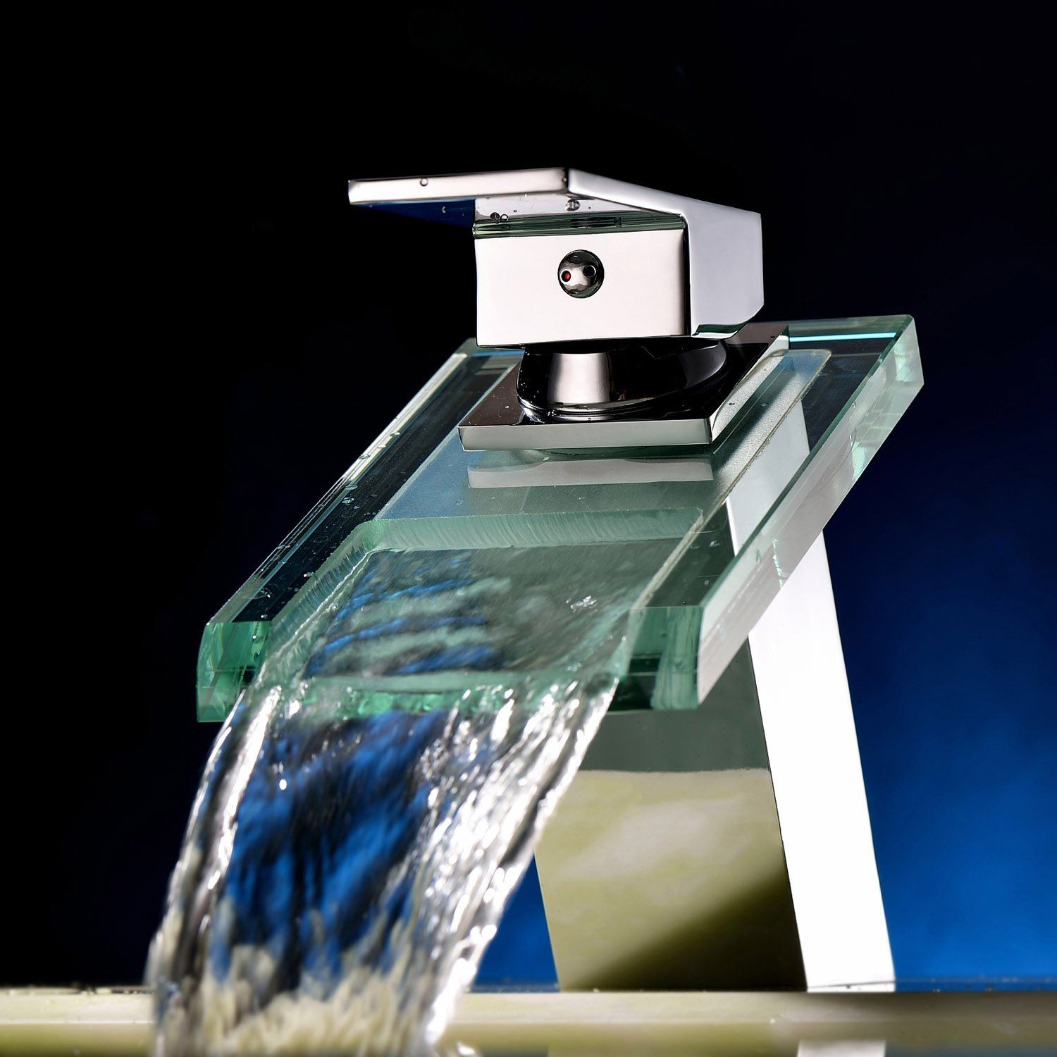 Sprinkle Widespread Waterfall Bathroom Sink Faucet with Glass Spout ...