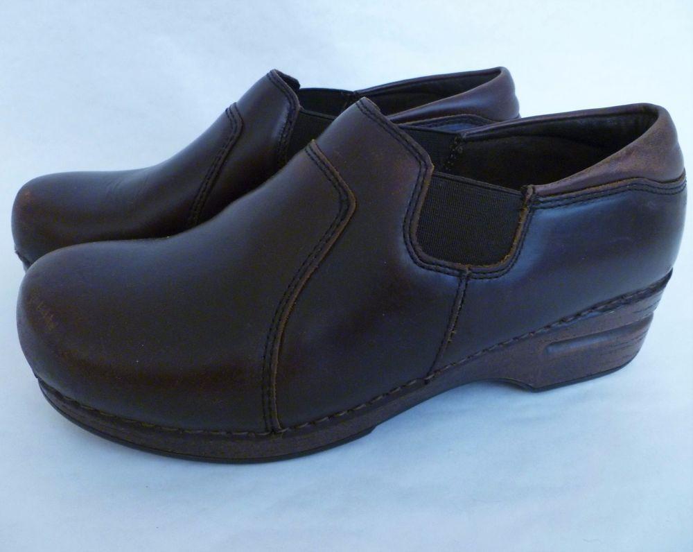 Dansko women's size 40 US 9.5 white leather clogs shoes walking work comfort