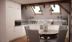 Bialo Szara Kuchnia Na Poddaszu Loft Kitchen Home Decor Kitchen Kitchen Interior