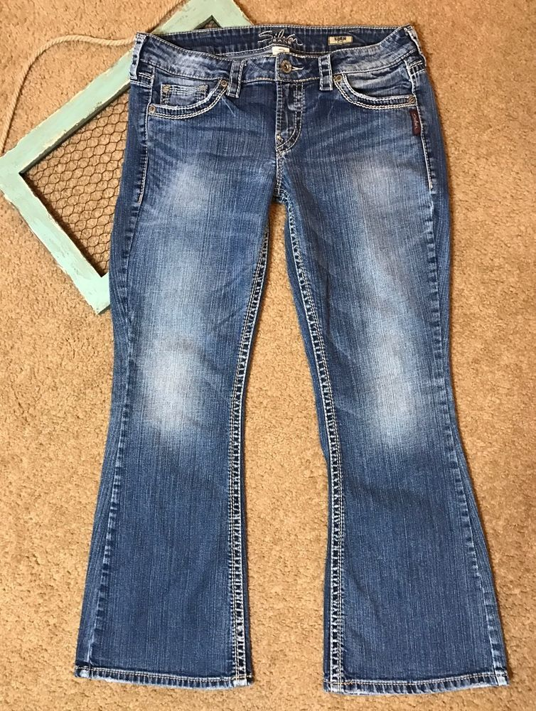 0af897c0800 Silver Jeans Womens Size 32 Eden Flare Stretch Distressed Fray 32×31