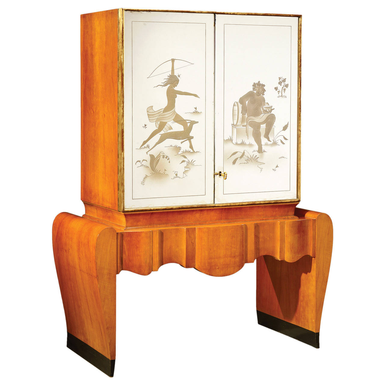 Cool Art Deco Kitchen Cabinets: Stunning Art Deco Italian Bar Cabinet