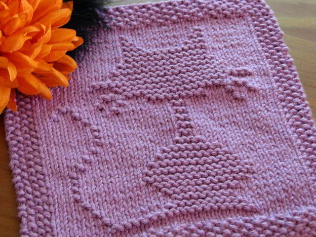 One Crafty Mama Halloween Cat Dishcloth Knit Crochet Dishcloth