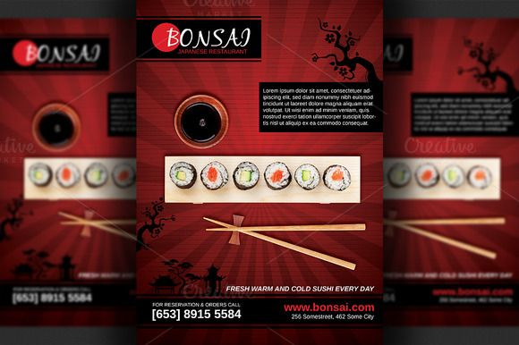 Japanese Restaurant Flyer Template  Flyer Template Template And