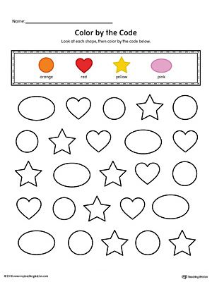 Shapes Color by Code Circle, Oval, Star, Heart (Color