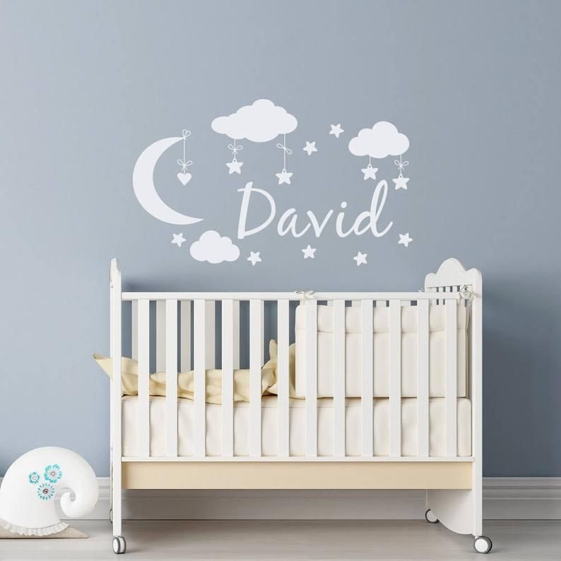 Personalized Name Wall Decal Boy Clouds Moon And Stars Nursery Etsy Stars Nursery Decor Baby Room Decor Baby Boy Rooms