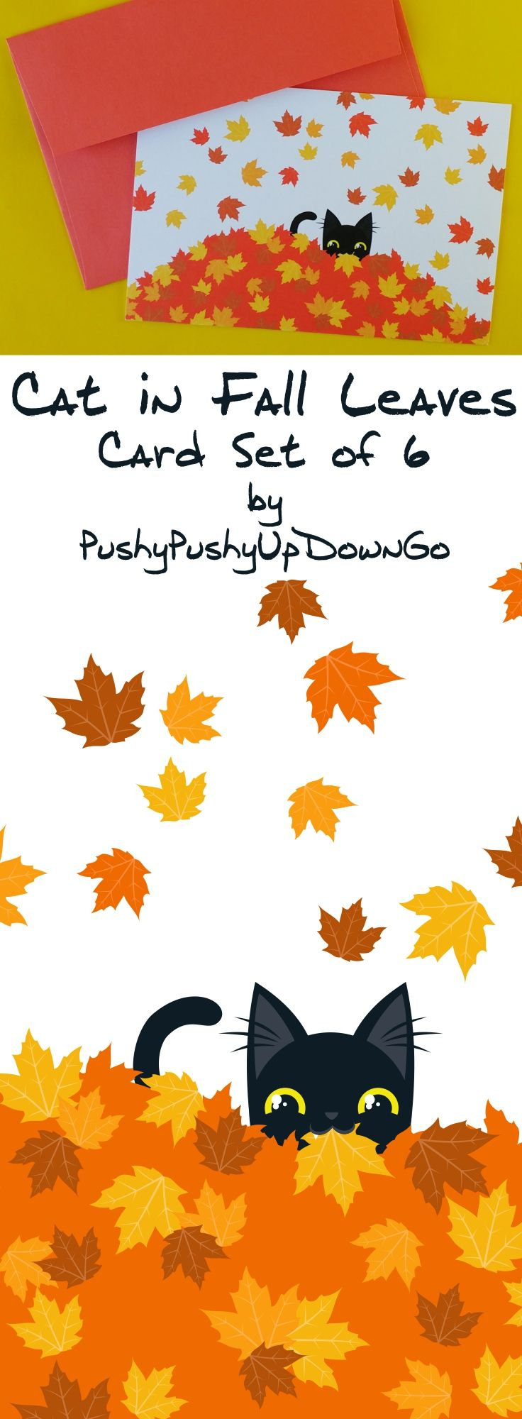 Fall & Autumn Leaves Funny Cat Cards Set, Fall Holiday And Note Cards Set,