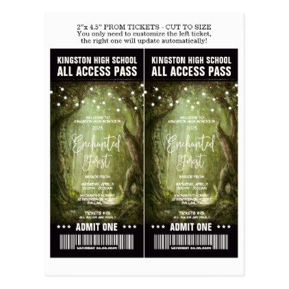 Enchanted Forest Prom Admission Tickets Template Postcard - prom