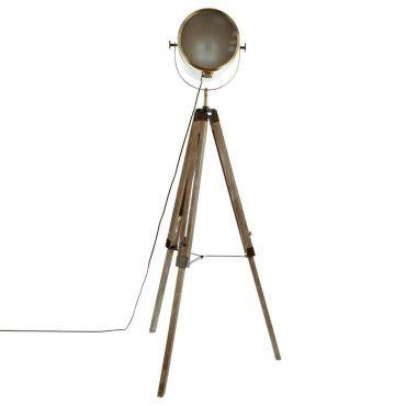 Lampadaire Industriel Metal Et Bois Ebor H150cm Pas Cher C 39