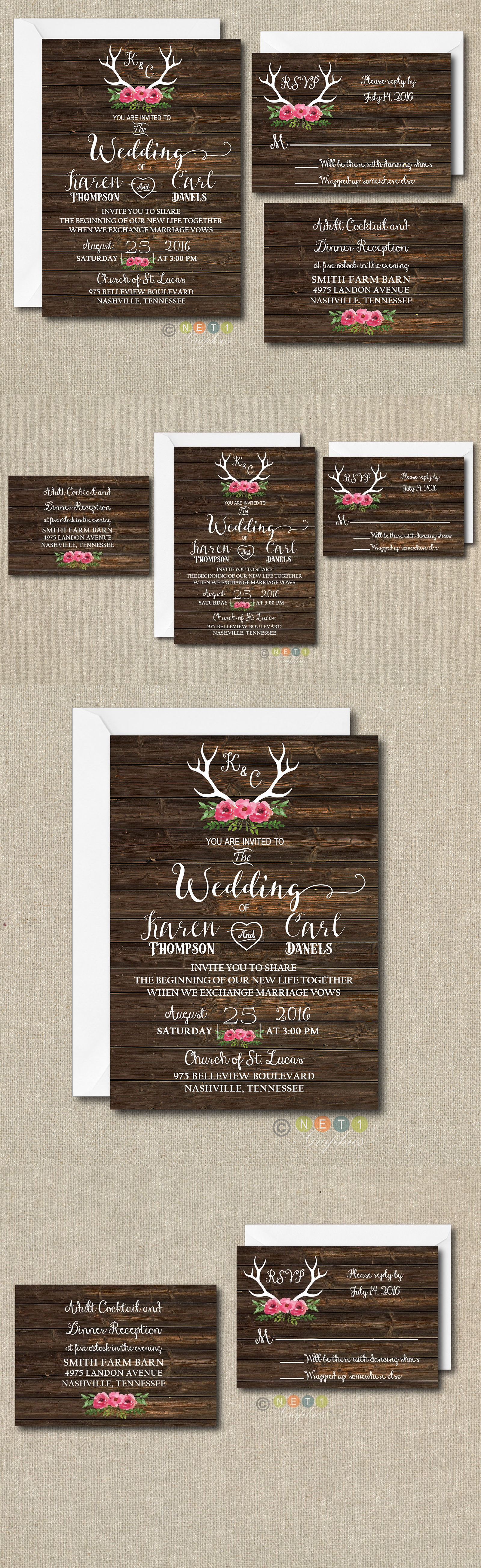 Invitations And Stationery 102469 100 Floral Rustic Antler Wedding