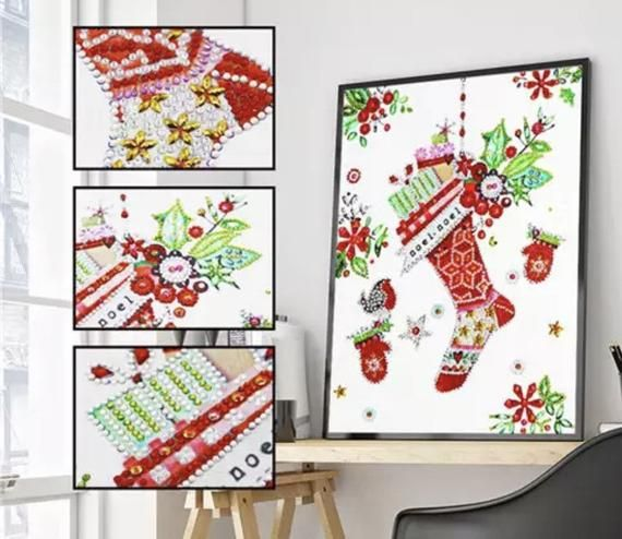 US Seller. 40x30cm Christmas Stocking Gifts. Clear Rhinestones. Diamond Painting kit. Special Drill Shapes Partial drill. Easy & Fas by OurCraftAddictions