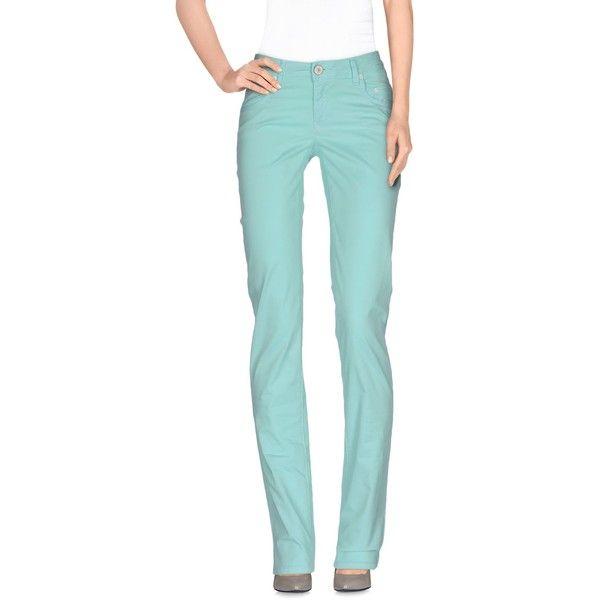 Siviglia Denim Casual Pants ($141) ❤ liked on Polyvore featuring pants, light green, zipper pants, 5 pocket pants, zip pants, five pocket pants and straight leg pants