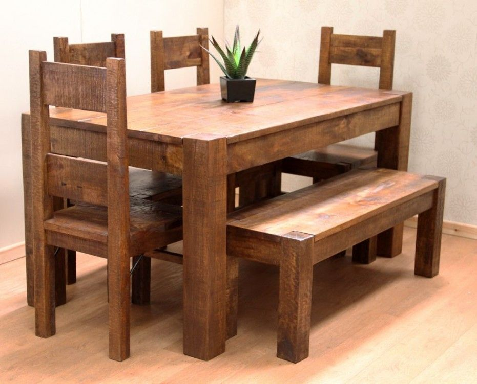 Wooden Dining Table Bench Harmony Between Nature And The Modern Design On Floor Furniture