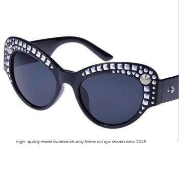 2015 New Chunky cat eye sunglasses Women acetate frame studded sun glasses shades ss047