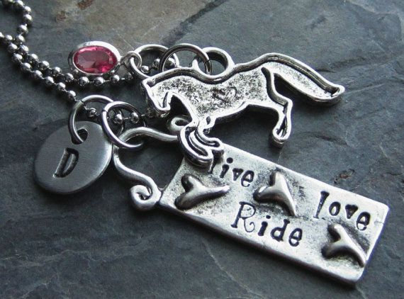 Horse Charm Necklace-Initial Charm-Swarovski Birthstone-Live Love Ride Pendant