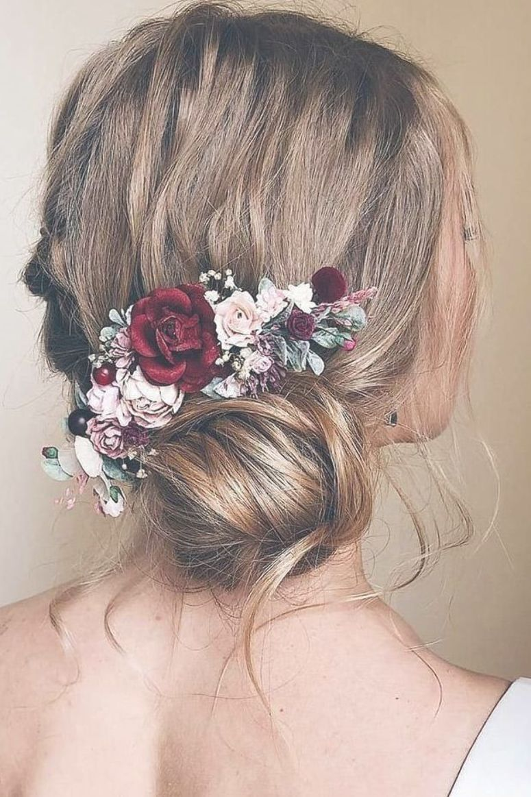 Wedding Hairstyles With Flowers Side Bun With Pink Red White Roses