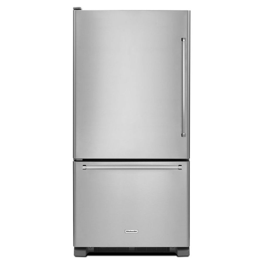 Kitchenaid 22 07 Cu Ft Bottom Freezer Refrigerator Stainless Steel Energy Star Lowes Com Bottom Freezer Refrigerator Bottom Freezer Kitchenaid Refrigerator