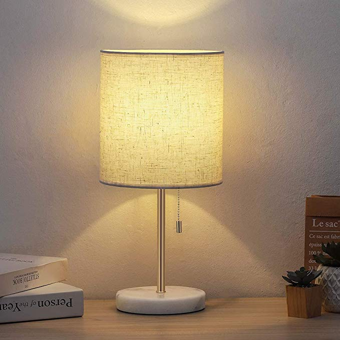 Amazon Com Desk Lamp Bedside Fabric Shade Table Lamp Marble Base Nightstand Lamp With Pull Chain Fabric In 2020 Wooden Desk Lamp Bedside Table Lamps Nightstand Lamp