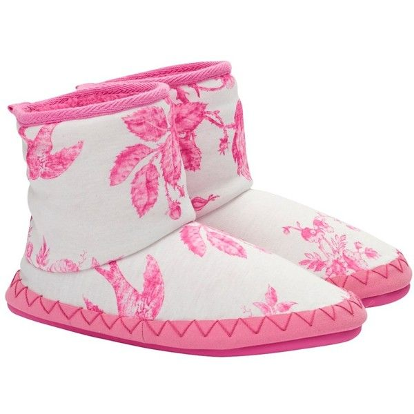 Little Joule Floral Print Slipper Boots, Pink/Cream ❤ liked on Polyvore featuring shoes and slippers