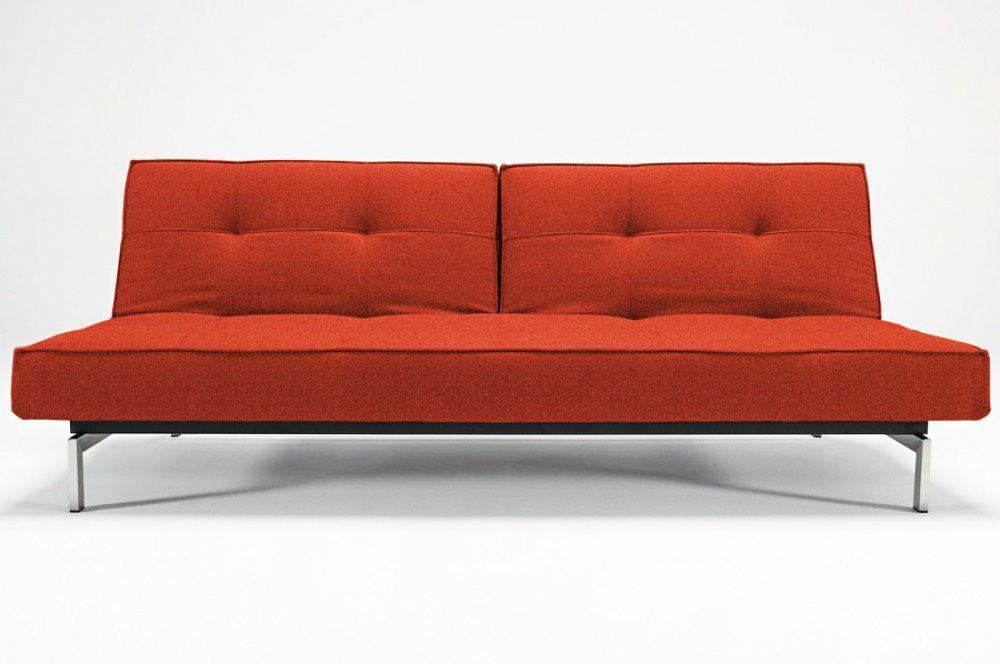 Splitback Burned Orange Sofa Bed With Chrome Legs By Innovation