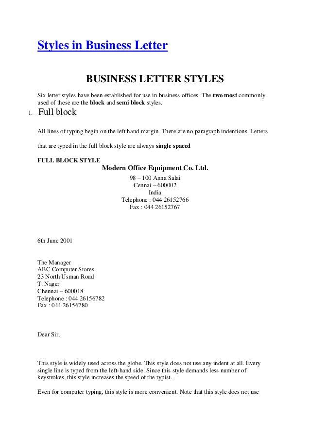 Style Application Letter Format Simplified Business Different