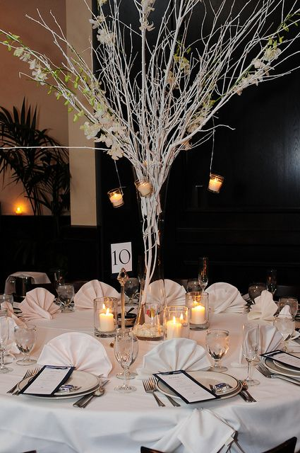 winter wedding branch centerpieces black white sharon s rh pinterest com Wedding Centerpiece with Branches and Flowers Rose and Manzanita Branches Centerpieces