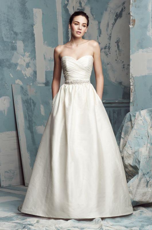 Paloma Blanca Style 4104 Silk Dupioni Wedding Dress Strapless Cross Over