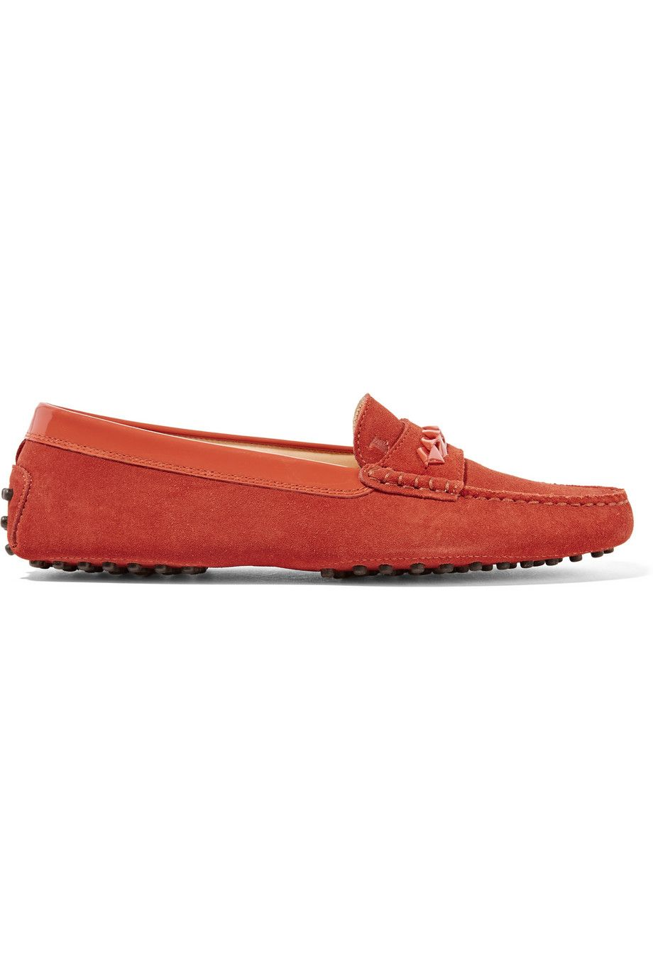TOD'S Patent-Leather-Trimmed Suede Loafers. #tods #shoes #flats