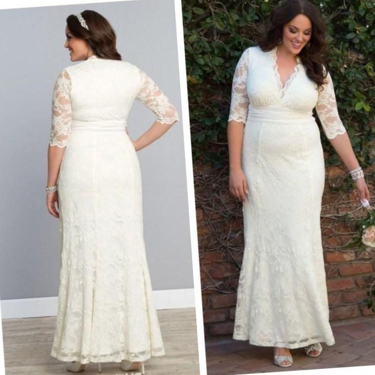 Plus size modest wedding dress - http://pluslook.eu/dresses/plus ...