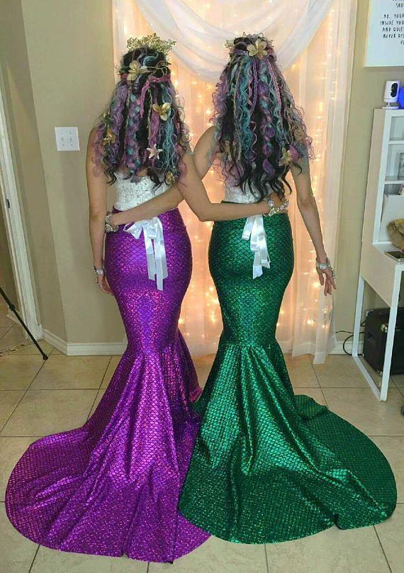 Purple Green Turquoise Mermaid Skirt Fish Tail Costume Etsy Disfraz De Sirena Casero Traje De Sirena Disfraz De Sirena