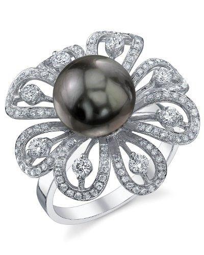 27ca4e19e4a9f 9mm Tahitian South Sea Cultured Pearl & Diamond June Ring in 18K ...