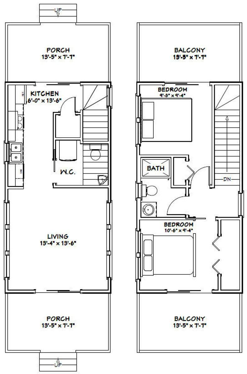 14x28 House 2Bedroom 1.5Bath 749 sq ft PDF Floor Etsy