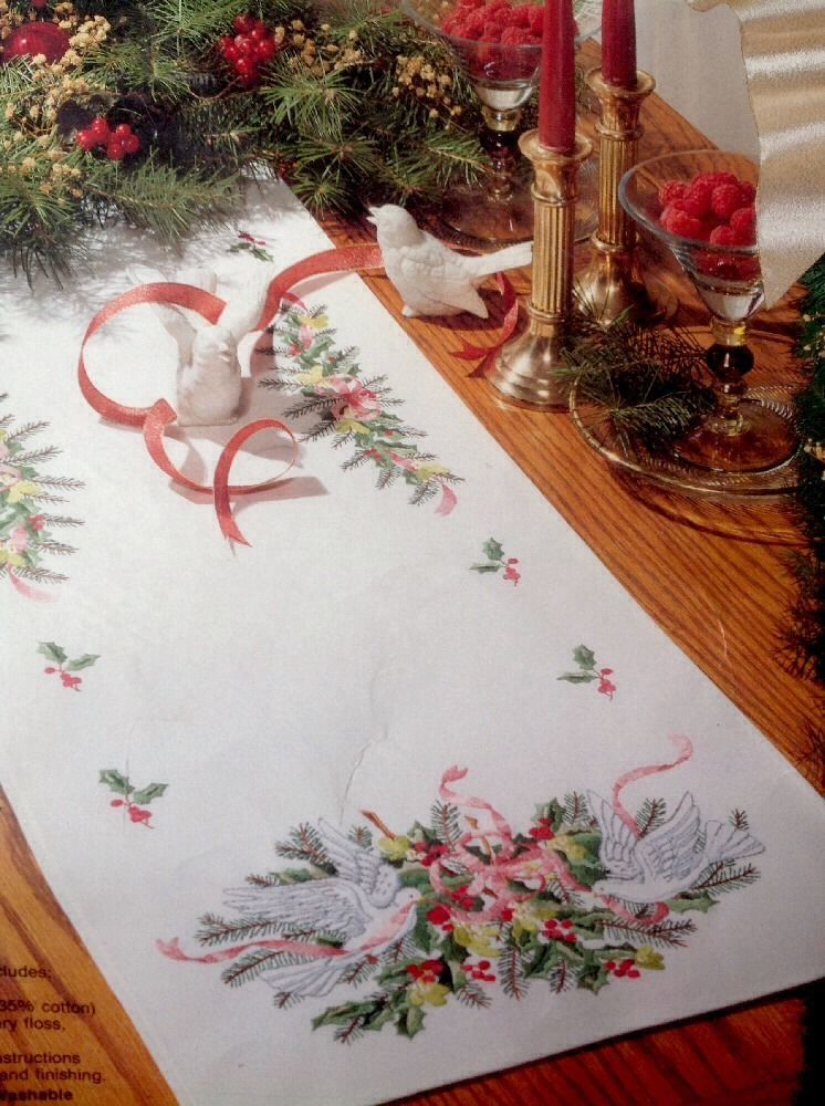Bucilla Christmas Table Runner Doves Holly Embroidery 44