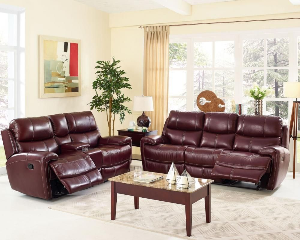 Leather Living Room Set in Burgundy by New Classic. This set ...