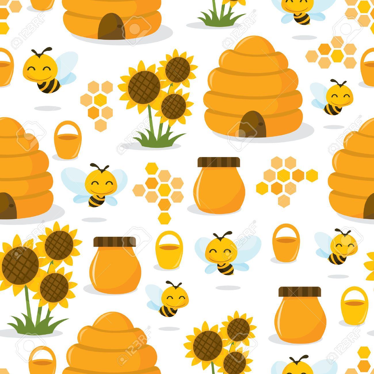 bee hive A vector illustration of a cute whimsical happy