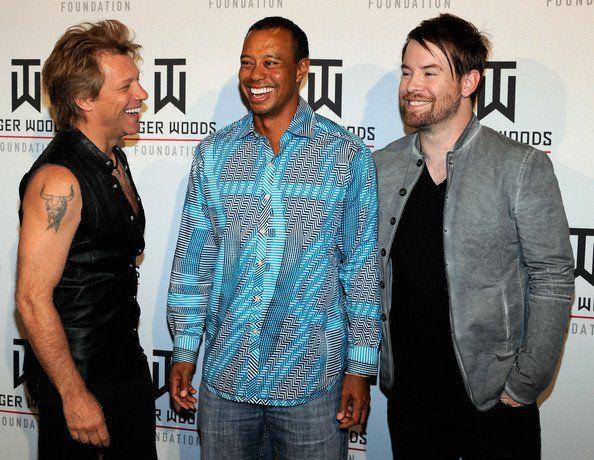 Jon Bon Jovi, Tiger Woods, and David Cook on #redcarpet at Tiger Jam in Las Vegas, NV, on April 28, 2012.