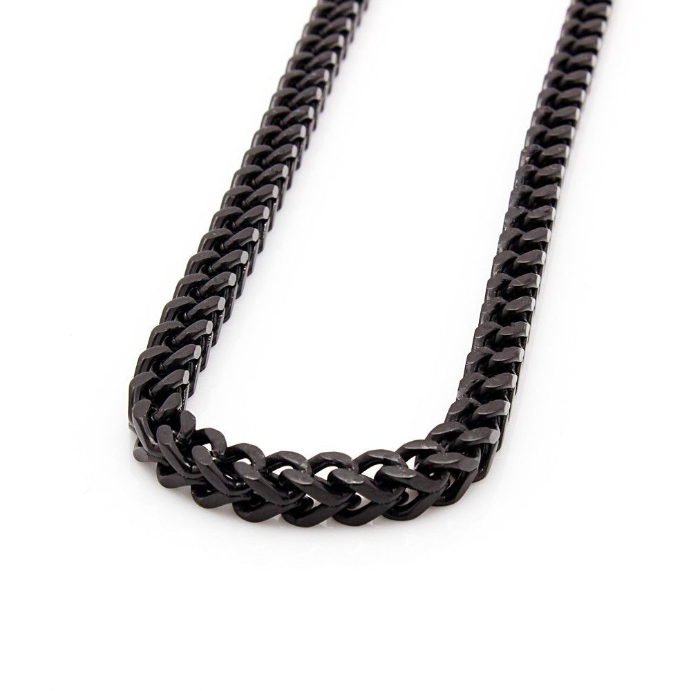 Mens 6mm Black Stainless Steel Franco Cuban Box Chain Link Necklace Mens Chain Necklace Gold Chains For Men Chains For Men