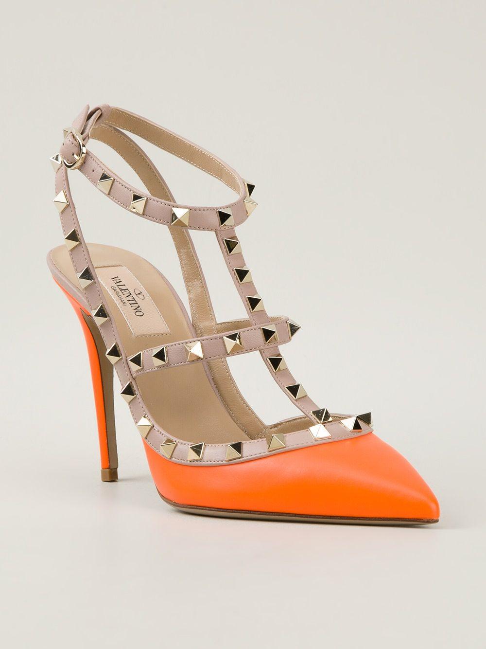 eac78944e8d Women s Orange Rockstud Heeled Pumps
