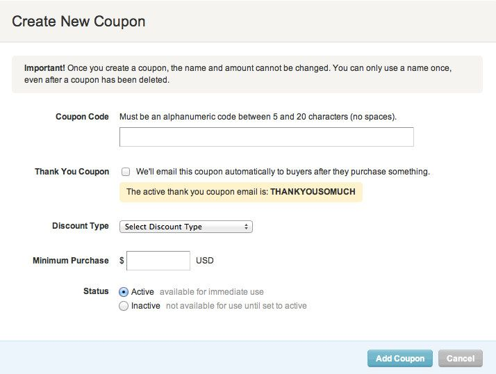 TEXTO - Create a Coupon Code and Promoting Your Coupon Code - Etsy - create a voucher