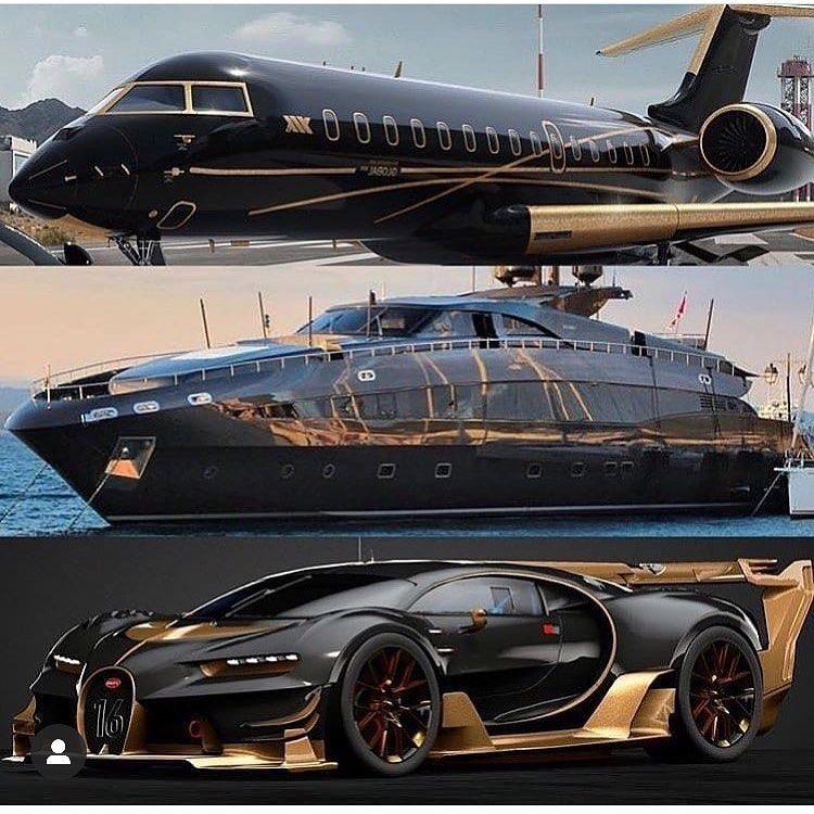 Which One Black Gold Jet Bugatti Luxury Private Jets Bugatti Cars Sports Cars Luxury