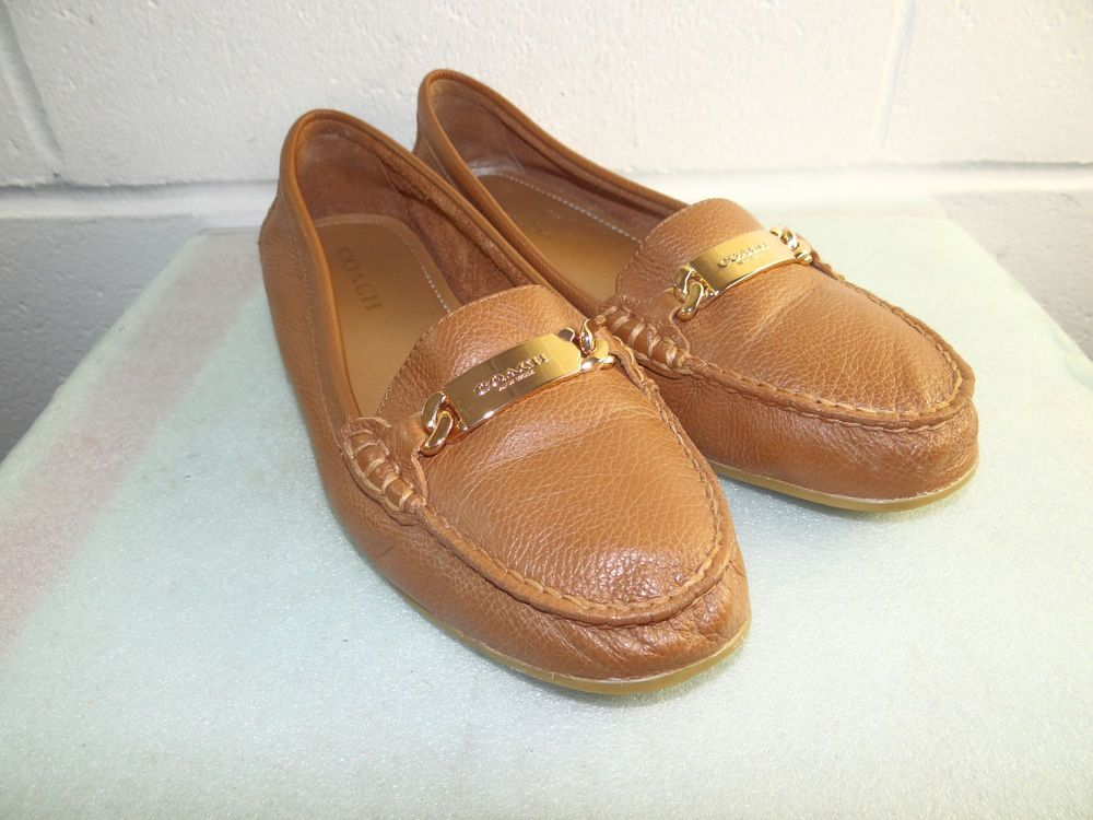 f4a7db3b02e COACH Olive Brown Leather Loafers Women Size 40 10B  fashion  clothing   shoes  accessories  womensshoes  flats (ebay link)