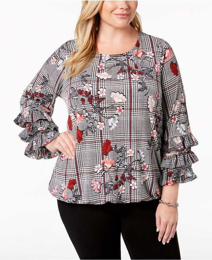 2bf0575800e Alfani Plus Size Printed Ruffled-Sleeve Blouse, Created for Macy's ...