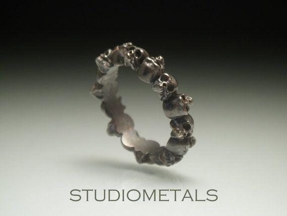 Skull Ring, Skull Wedding Ring, Skull Band, Womens Tiny Skull Ring, Gold Skull…