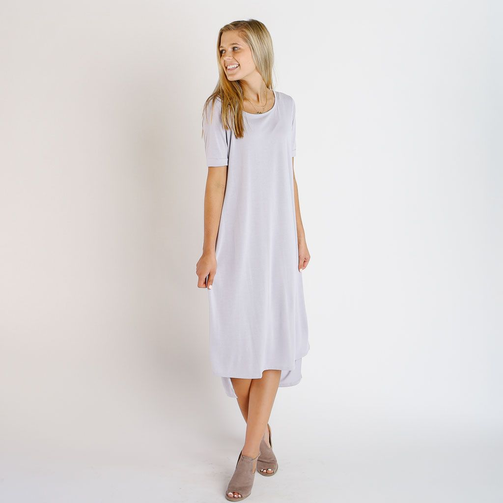 Soft loose fitting knit dress with short sleeves scoop neckline and